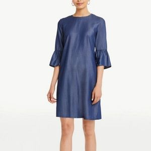 Ann Taylor chambray bell sleeve dress